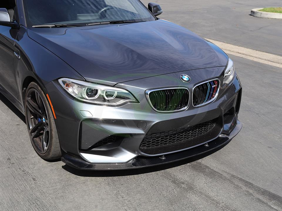 Grey BMW F87 M2 gets a new 3D Style CF Front Lip Spoiler