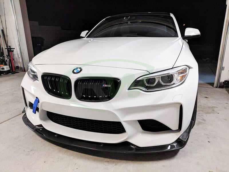 Alpine White BMW F87 M2 gets a new 3D Style CF Front Lip Spoiler