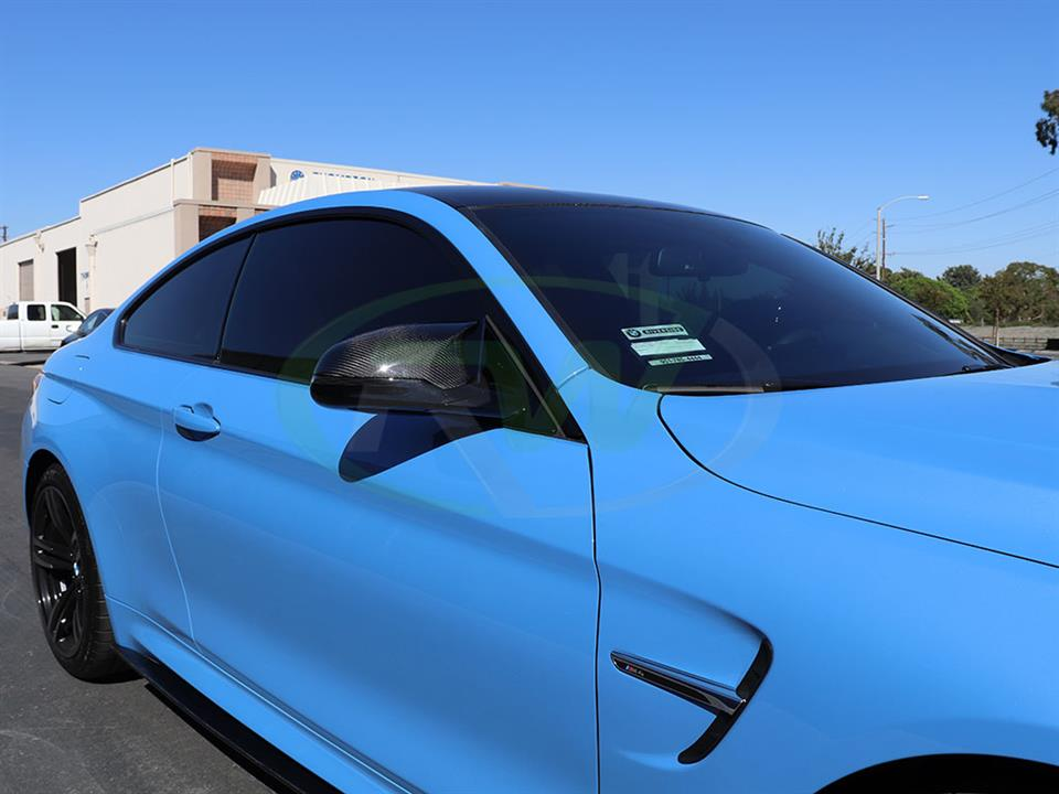 BMW F82 M4 in Yas Marina with RW Carbon Fiber Mirror Replacements