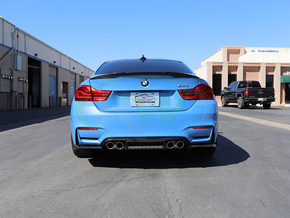 Yas Marina Blue BMW F82 M4 with an Exotics Style CF Diffuser