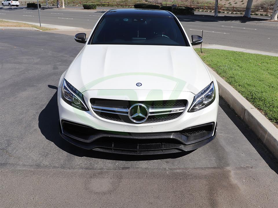 White Mercedes W205 C63 and a new Brabus Style Carbon Fiber Front Lip