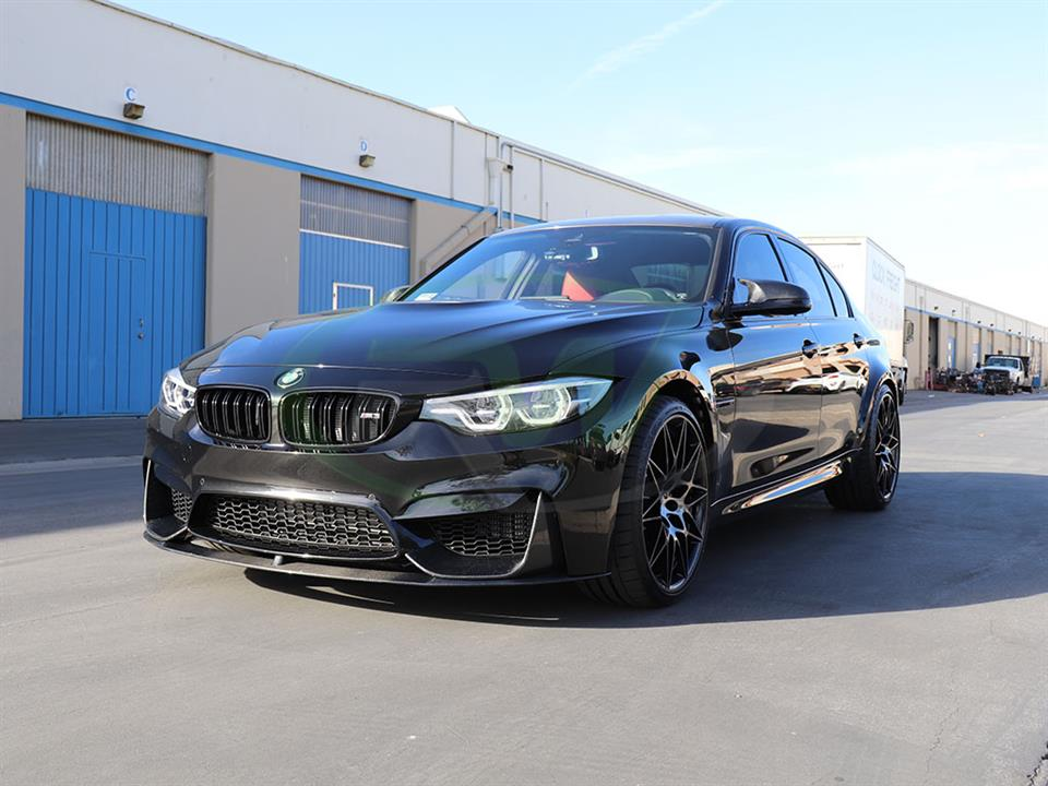 A BMW F80 M3 with an RW Performance Style Carbon Fiber Front Lip Spoiler