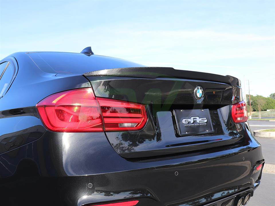 Black BMW F80 M3 with an RW Carbon Fiber M4 Style Trunk Spoiler