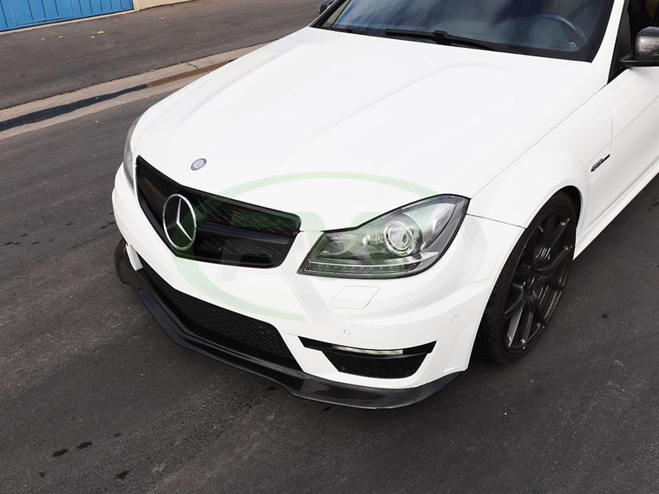 White Mercedes W204 C63 gets a Black Series Style Carbon Fiber Front Lip