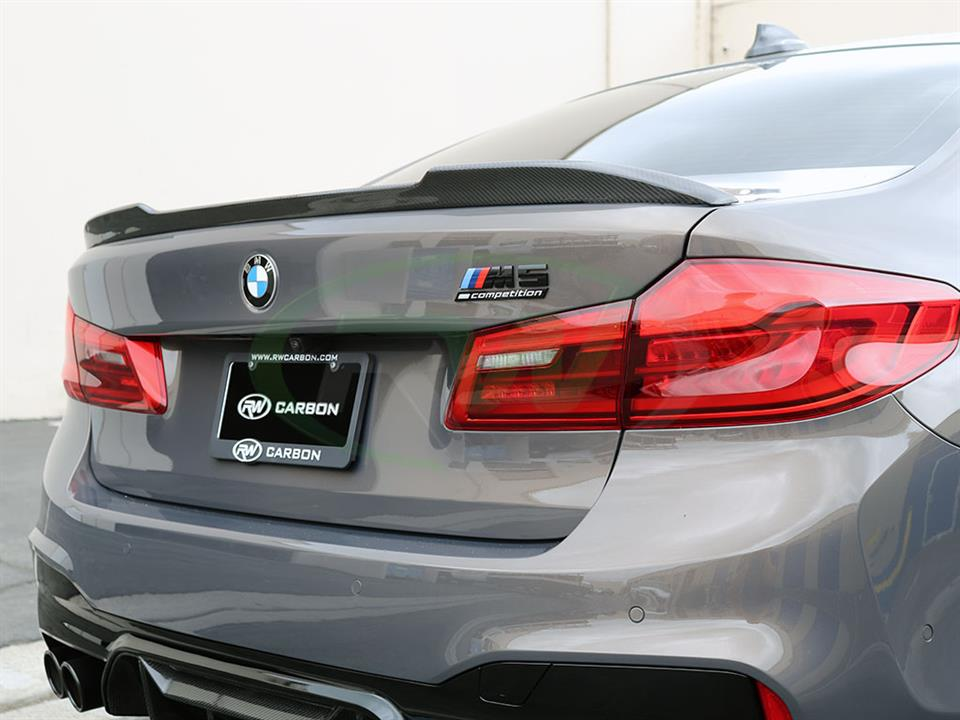 CS Style Carbon Fiber Trunk Spoiler on a BMW F90 M5