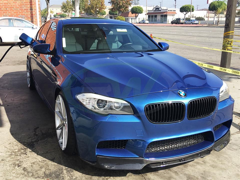 A Blue BMW F10 M5 get a fresh new DTM RW Carbon Fiber Front Lip