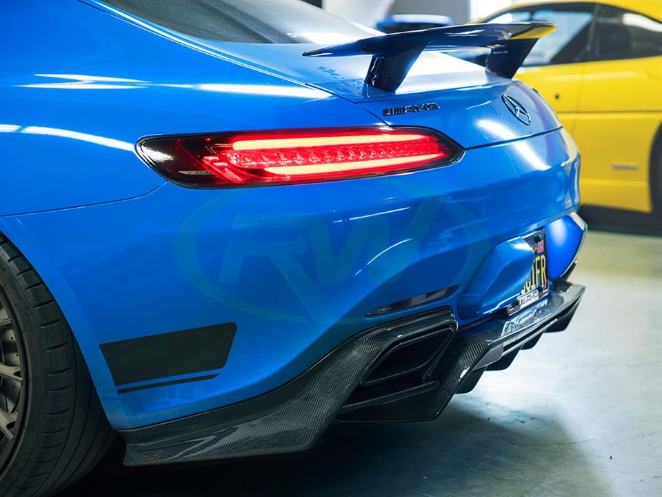 A Blue Mercedes C190 GTS gets a new RW Carbon Fiber Diffuser
