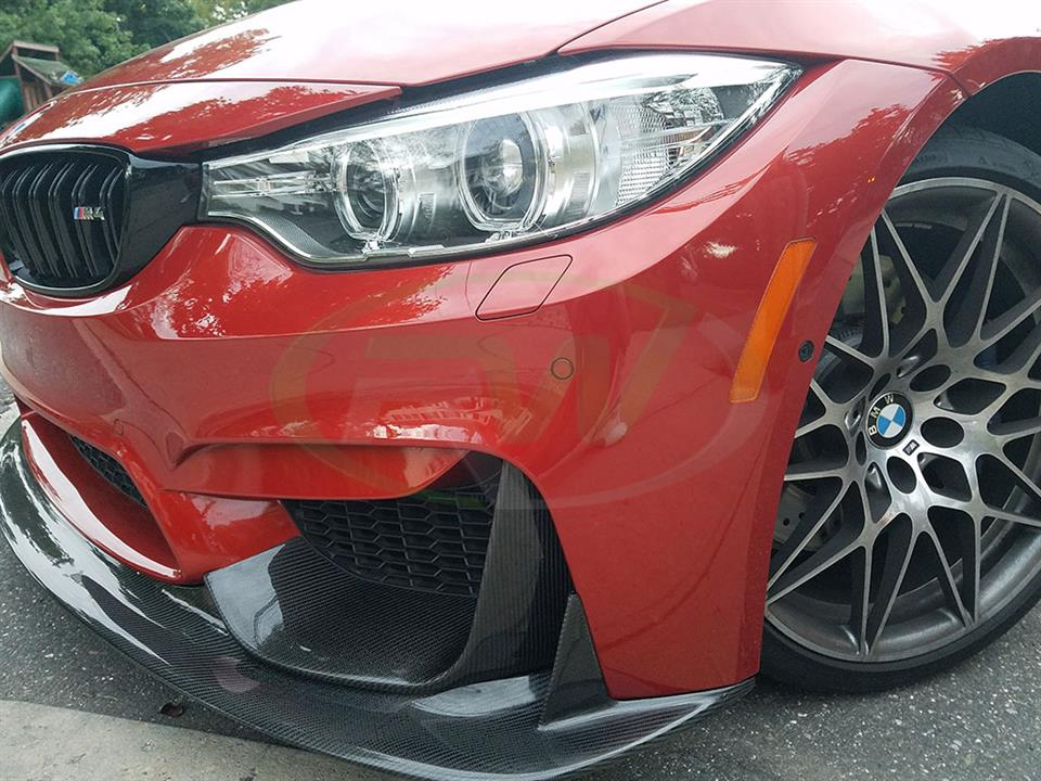 Red BMW F82 M4 gets an RW ENS Style Carbon Fiber Front Lip