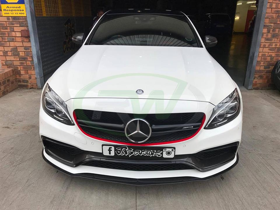 White Mercedes W205 C63 gets a new Edition 1 Style CF Front Lip from RW
