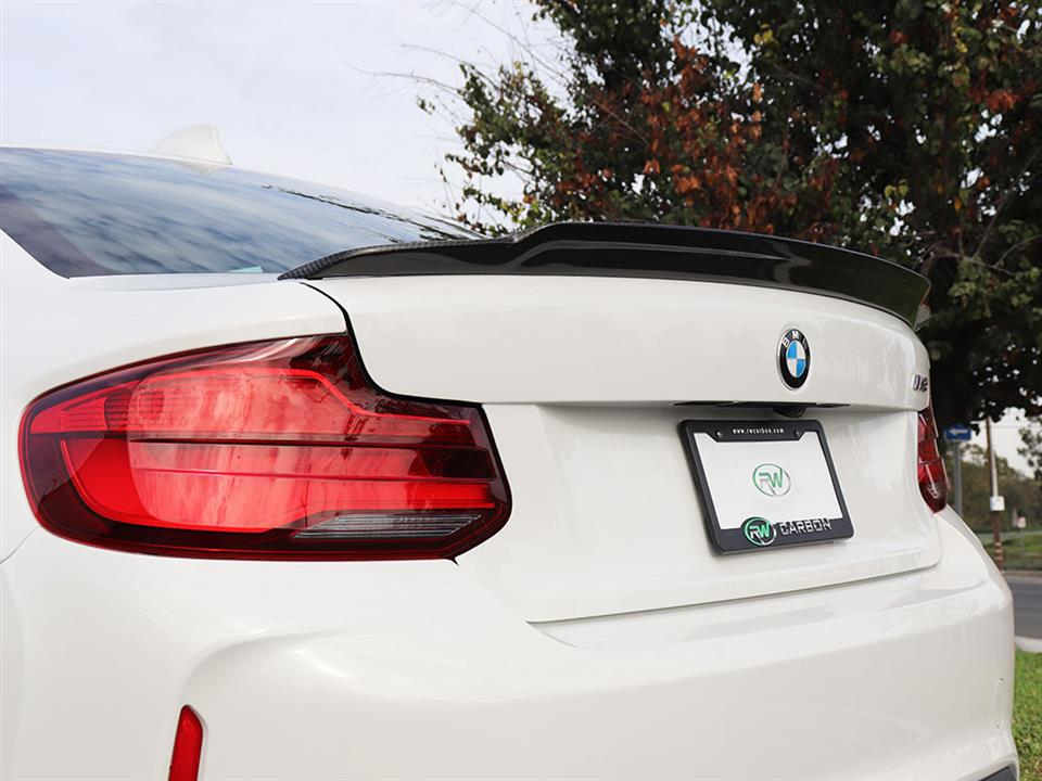BMW F87 M2 with an RW Exotics Tuning Style CF Trunk Spoiler