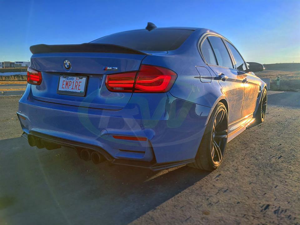 Yas Marina Blue BMW F80 M3 with an RW GTX Carbon Fiber Trunk Spoiler