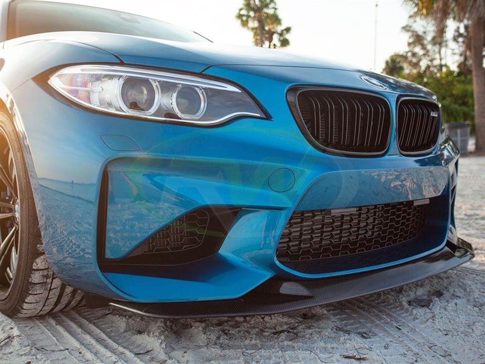 Blue BMW F87 M2 gets a new RW GTS Style Carbon Fiber Front Lip Installed