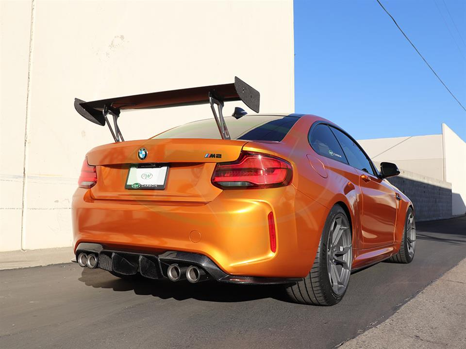 RW Carbon Fiber GTS Style Wing for the Orange BMW F87 M2