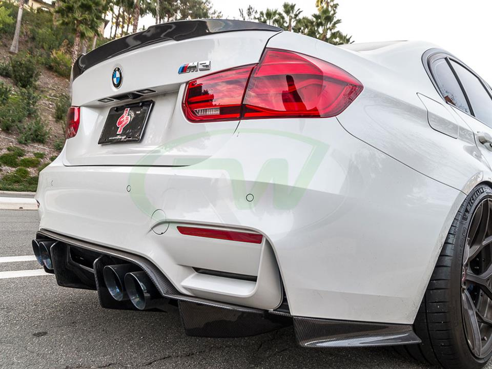 White BMW F80 M3 with a new GTX RW Carbon Fiber Diffuser