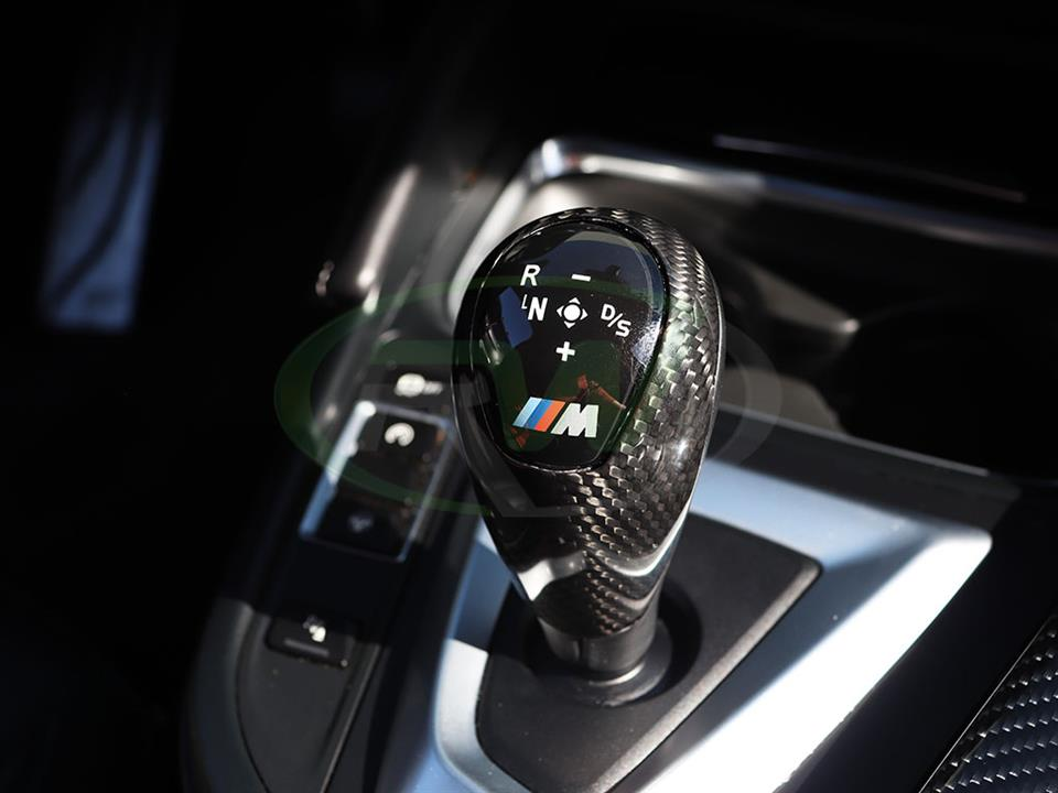 BMW Carbon Fiber Gear Selector Cover installed on an F80 M3