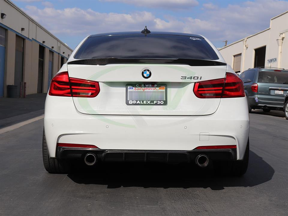 BMW F30 340i and a new M4 Style Carbon Fiber Trunk Spoiler