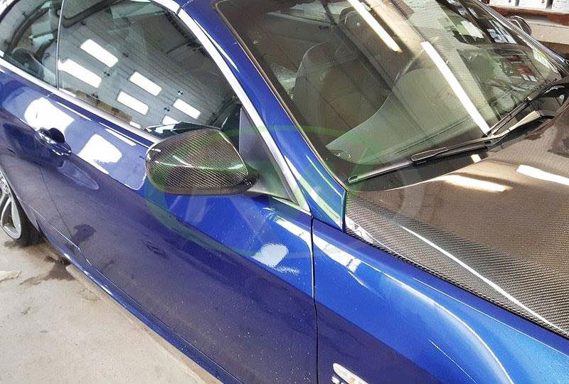 BMW E93 335i LCI in Blue wiht our Carbon Fiber Mirror Covers