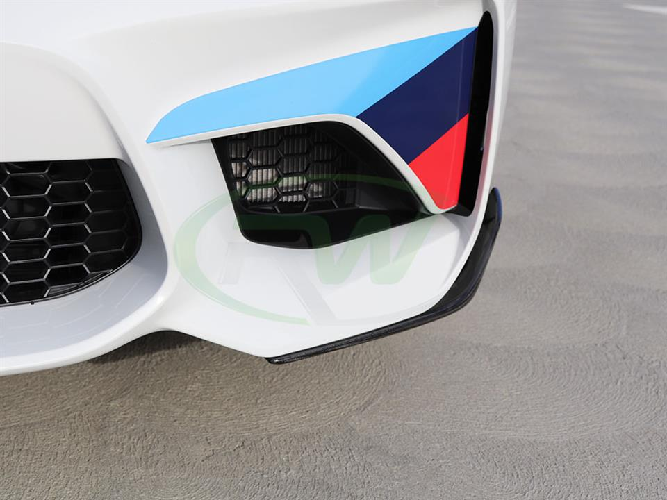 White BMW F87 M2 with RW Performance Style Front CF Splitters
