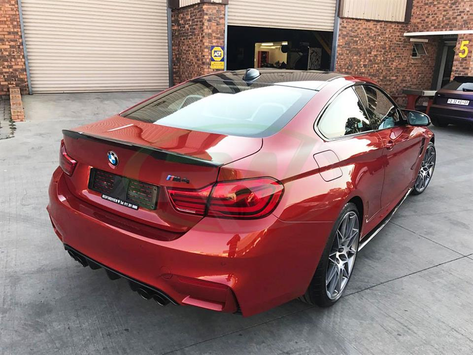 Red BMW F82 M4 with the RW Perf Style Spoiler