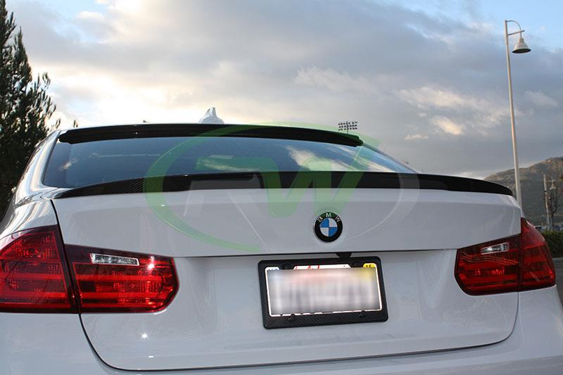 RW Carbon Roof + trunk spoiler installed on 2014 BMW 328d