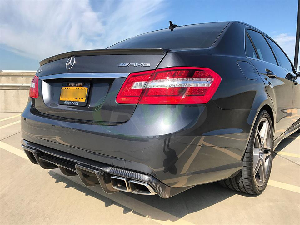 Grey Mercedes W212 E63 with the RW Renn Style Carbon Fiber Diffuser