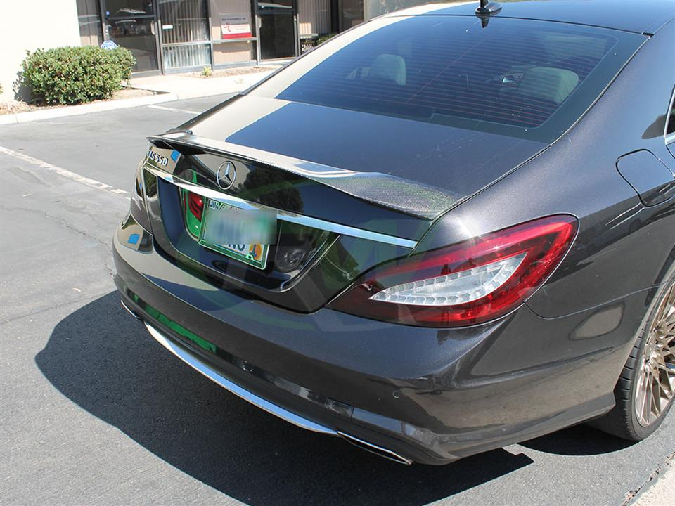 Black Mercedes W218 gets a RW Carbon Fiber Renn Style Trunk Spoiler