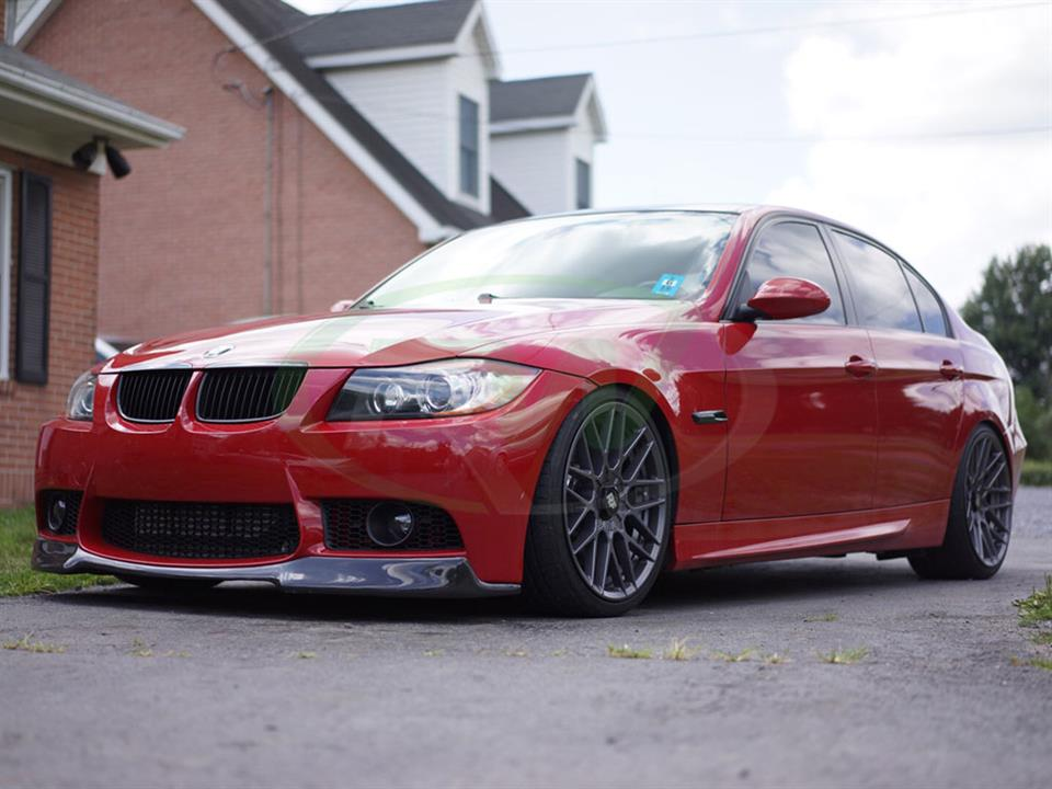 Red BMW E90 gets an RW Carbon Fiber Front Lip for M3 Style Bumper