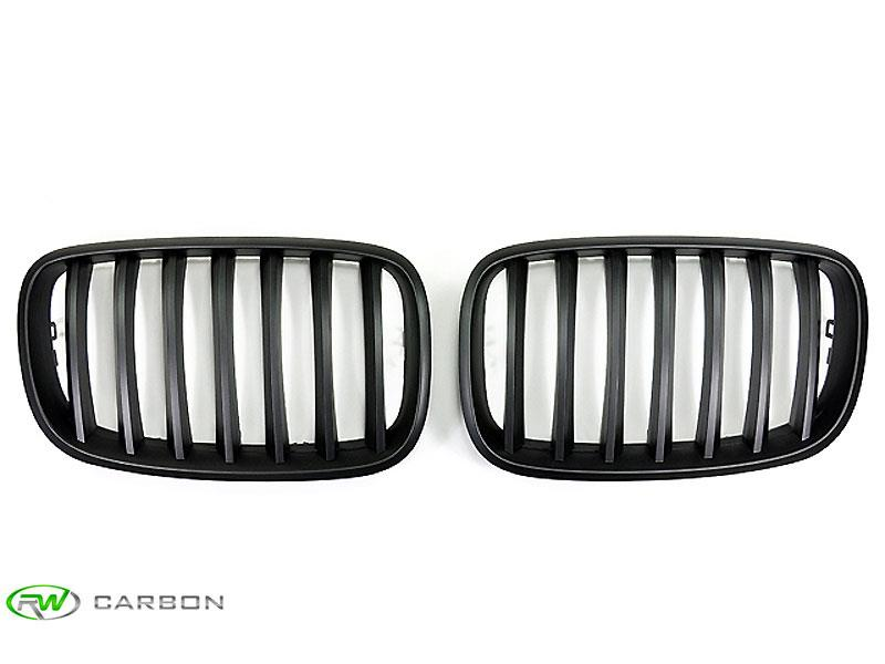 Superior exterior style is a few minute installation away with these RW Carbon BMW X5 and X6 matte black grilles.