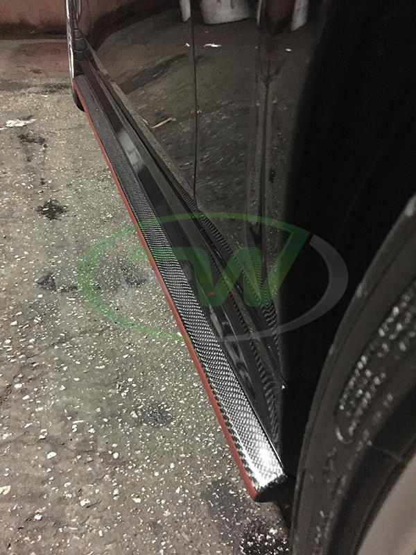 Mercedes W204 C63 Sedan carbon fiber side skirt extensions from RW Carbon