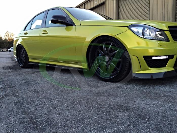 RW Carbon CF side skirt extensions installed on 2013 C63 AMG