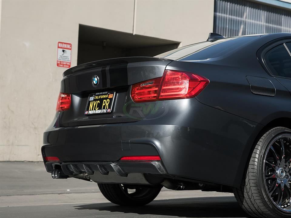 rw carbon bmw f30 328i performance style cf rear diffuser