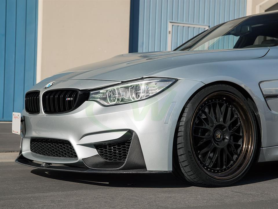 Silverstone bmw f80 m3 rw carbon fiber performance style cf front lip and splitters