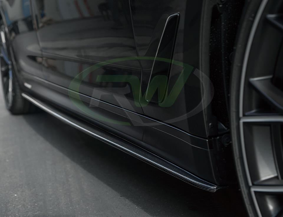 rw carbon fiber bmw g30 530e side skirt extension