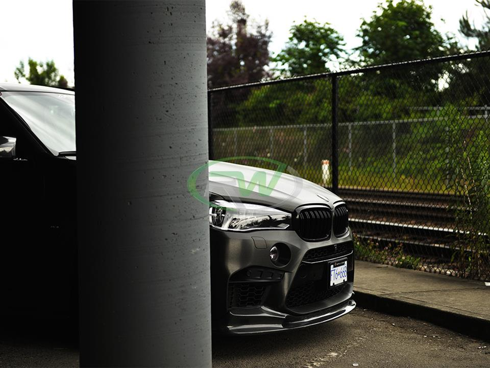 satin black bmw f85 x5m suv with rw carbon 3d style cf front lip spoiler