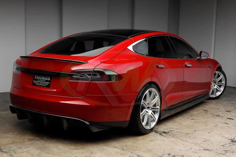 Red Tesla Model S with an RW Carbon Fiber Trunk Spoiler