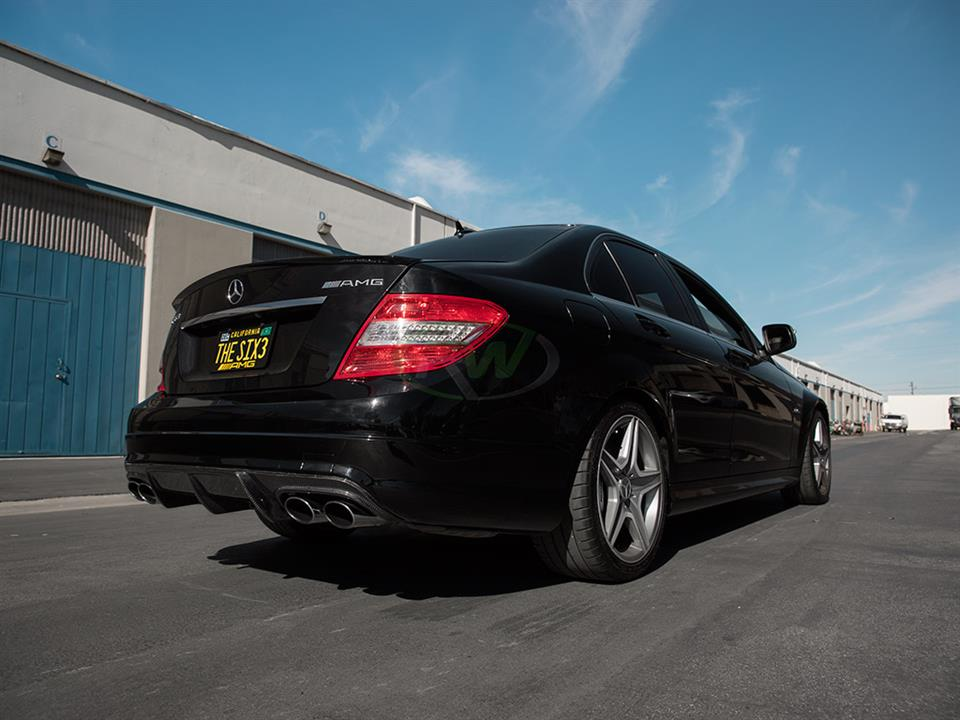 rw carbon fiber black mercedes benz w204 c63 amg sedan arkym rear cf diffuser