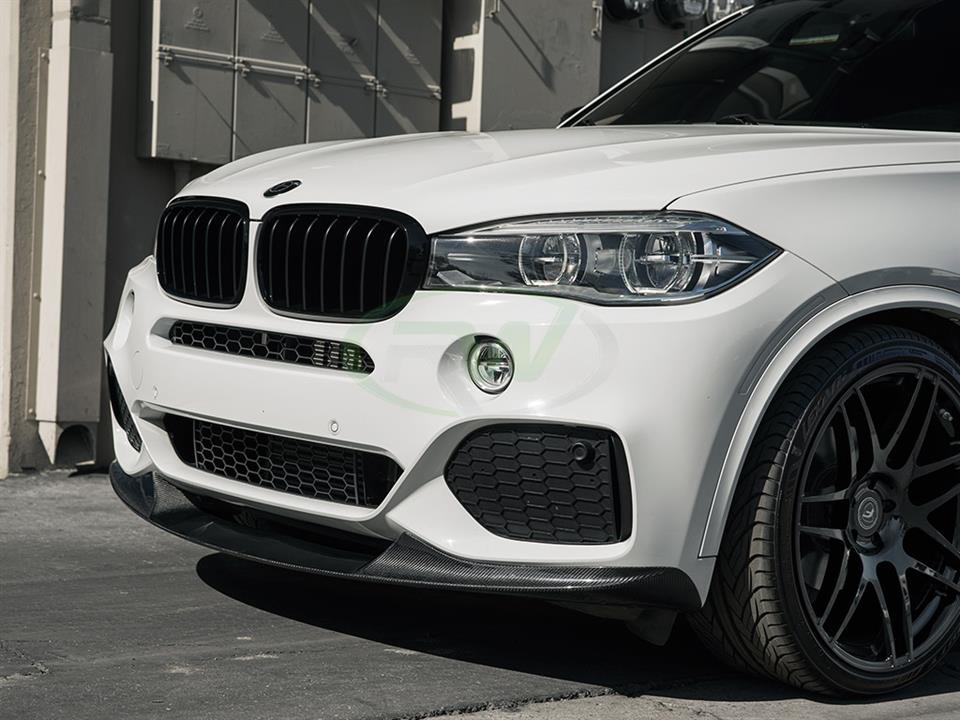 white bmw f15 x5 gets rw carbon fiber m sport front lip