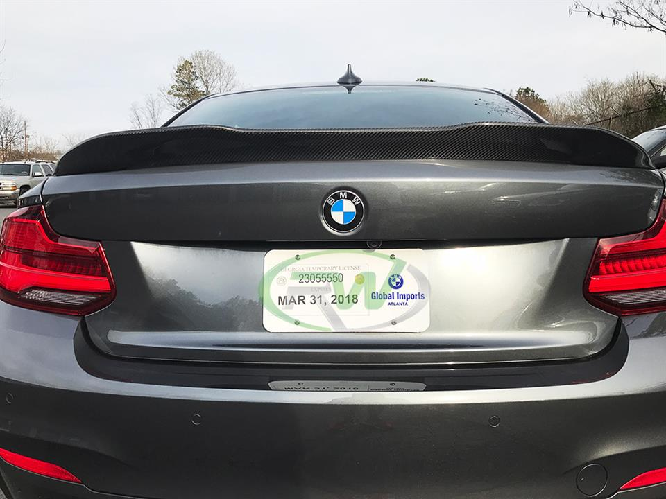 grey bmw f22 m240i with rw carbon fiber gtx style cf trunk spoiler