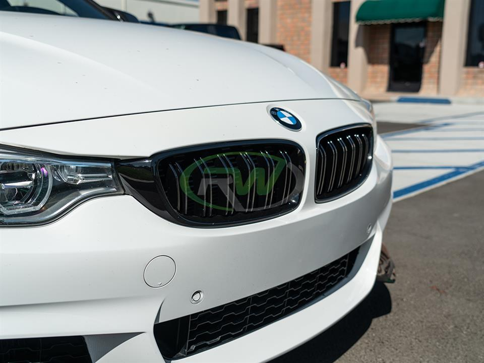 rw carbon bmw f36 gloss black double slat grilles