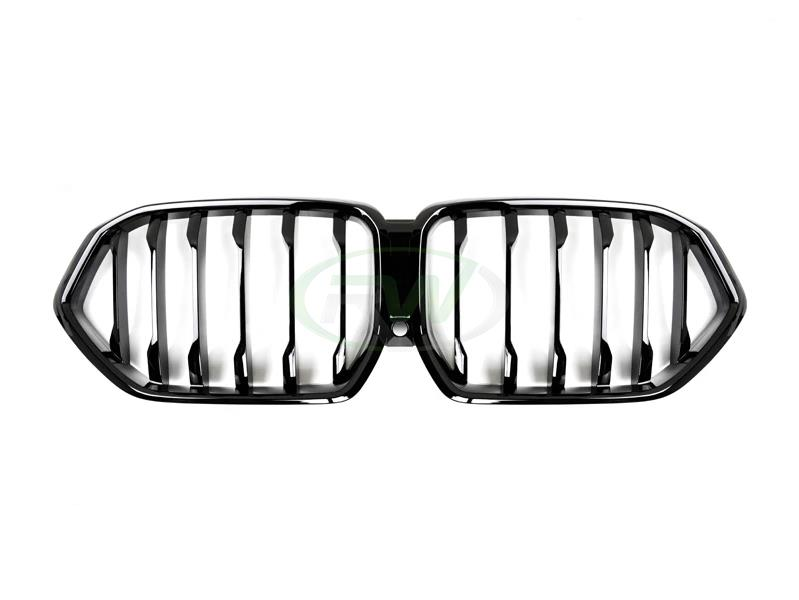 rw carbon bmw g06 x6 gloss black replacement grilles