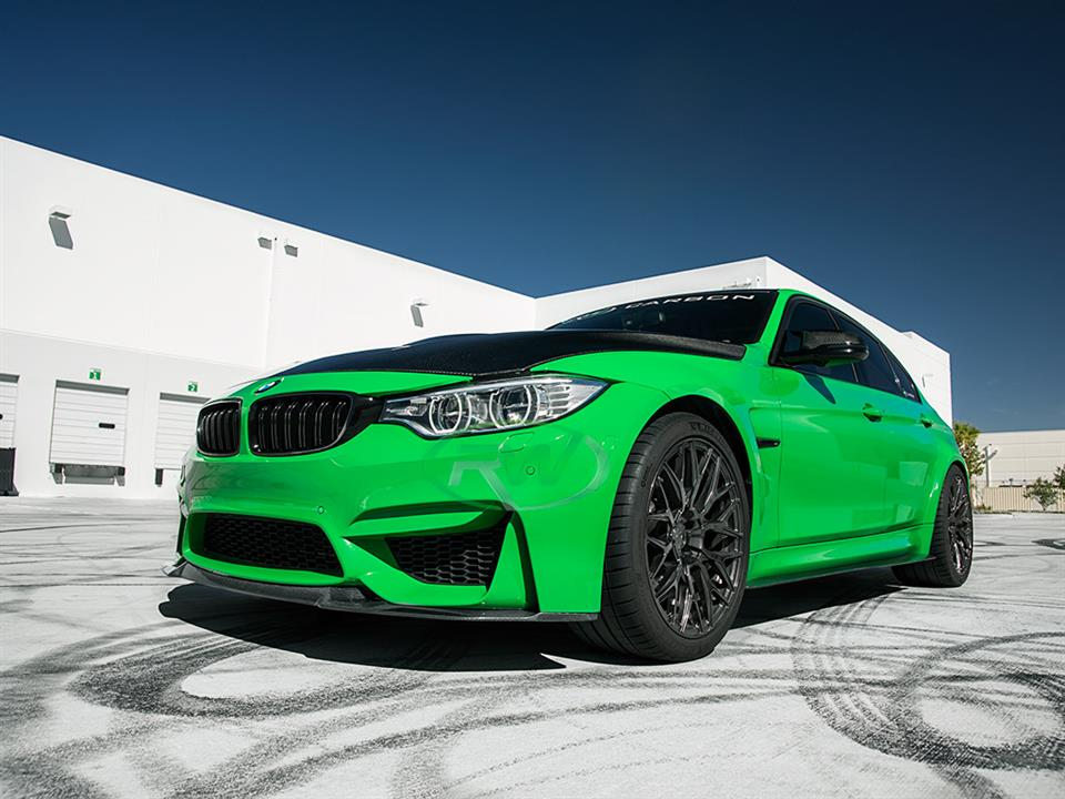 rw carbon fiber bmw f80 m3 signal green with cs style cf front lip spoiler