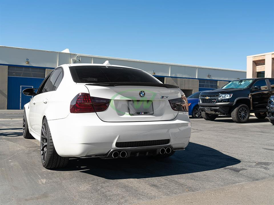 rw carbon fiber bmw e90 m3 performance style trunk spoiler