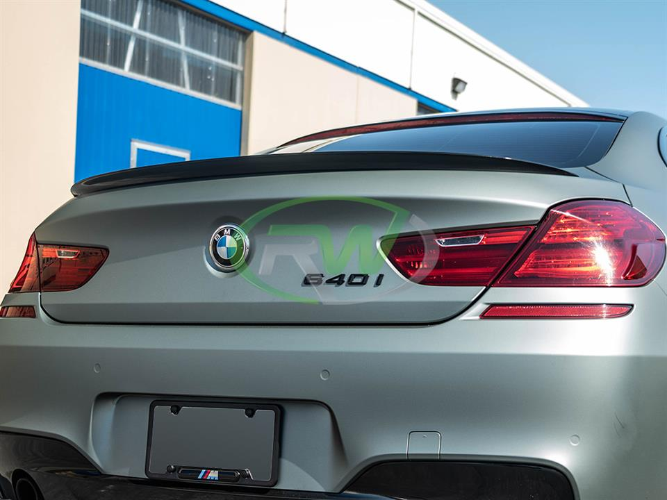 rw carbon fiber matte grey bmw f06 f13 cf performance style trunk spoiler
