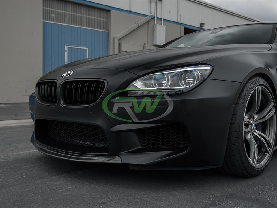 frozen black f06 bmw m6 gran coupe with rw carbon fiber center cf lip spoiler
