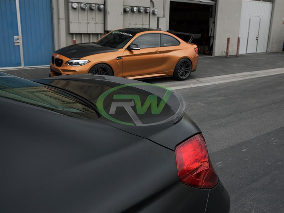 frozen black bmw f06 m6 gran coupe with rw carbon fiber dtm style cf trunk spoiler