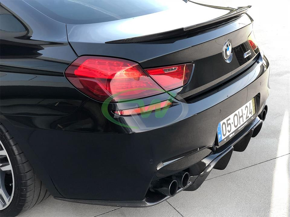 black bmw f06 m6 gran coupe sedan with rw carbon fiber dtm style cf trunk spoiler