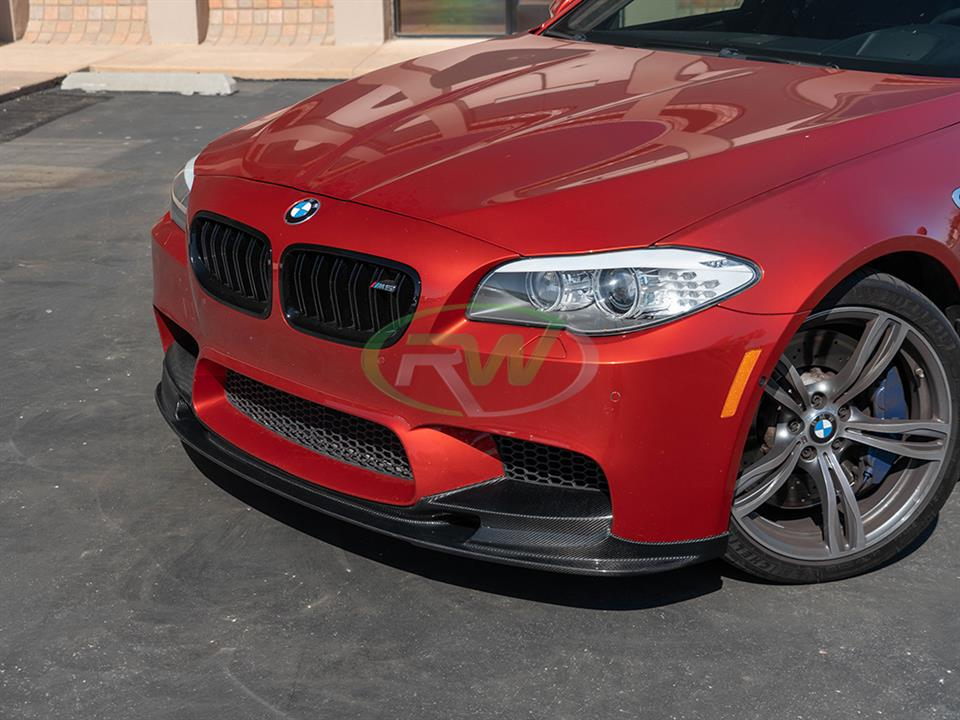 A red BMW F10 M5 gets a new 3D Style Carbon Fiber Front Lip