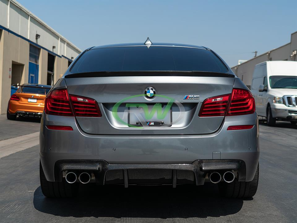 Grey BMW F10 M5 getting an RW DTM Diffuser
