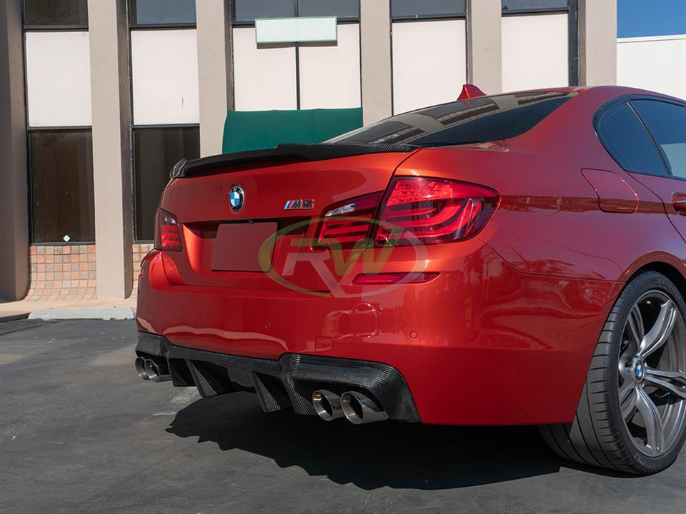 Red BMW F10 M5 gets an RW Carbon DTM Diffuser
