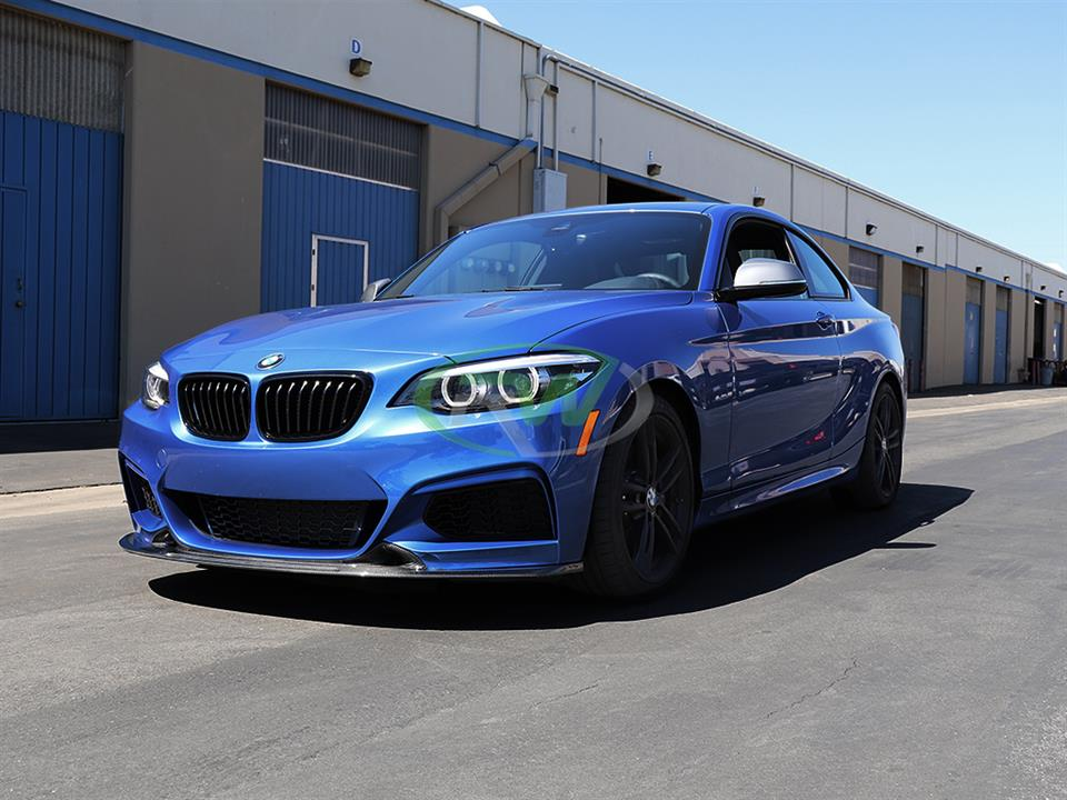 rw carbon fiber estoril blue bmw f22 m240i exotics tuning style cf front lip spoiler